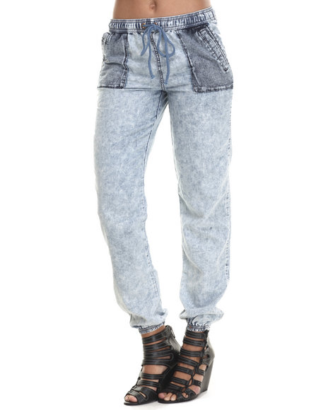 Basic Essentials - Women Blue Sporty Chambray Bottoms W/Drawcoards