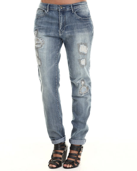 Basic Essentials - Women Medium Wash Rips & Tears Boyfriend Fit Jean W/Cuff Ankles
