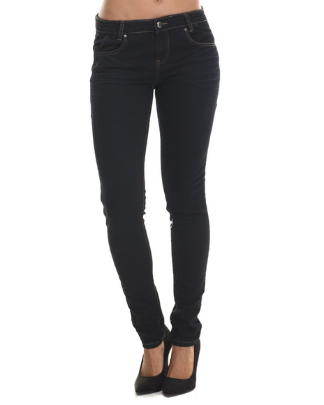 Basic Essentials - Women Navy Navy Wish 5 Pocket Push Up Skinny Jean - $29.00