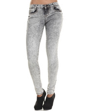 Basic Essentials - Aged Grey 5 Pocket Push Up Skinny Jean