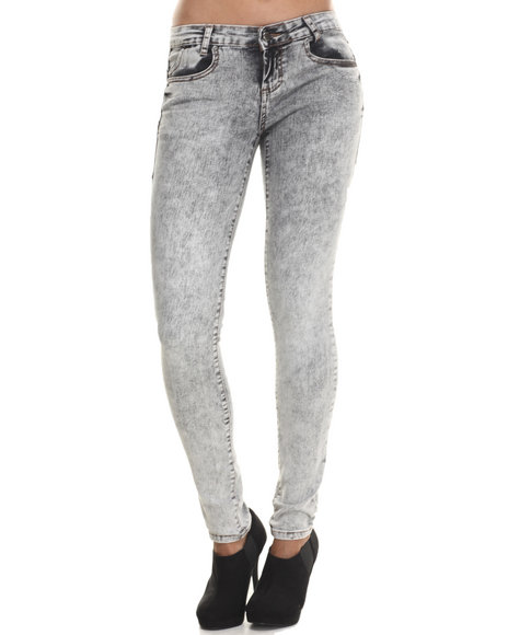 Basic Essentials - Women Grey Aged Grey 5 Pocket Push Up Skinny Jean