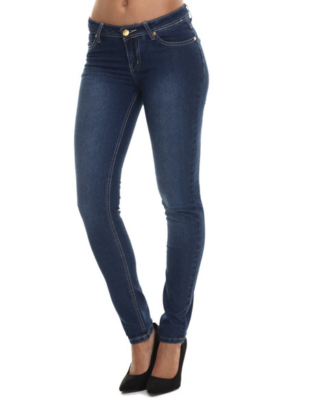 Apple Bottoms - Women Dark Wash Bling Back Pocket Skinny Jean - $24.99