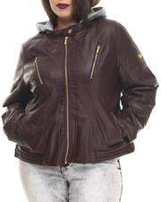 Outerwear - Faux Leather Jacket w/ Detachable Fleece Hood (Plus)