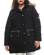 COOGI - Long Cinched Waist Faux Fur Hooded Parka (Plus)