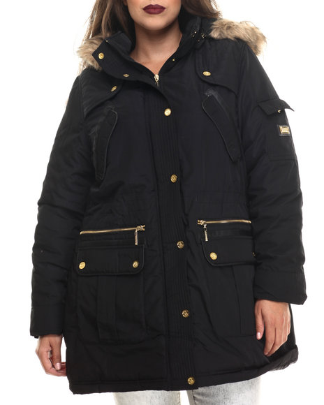 Coogi - Women Black Long Cinched Waist Faux Fur Hooded Parka (Plus)