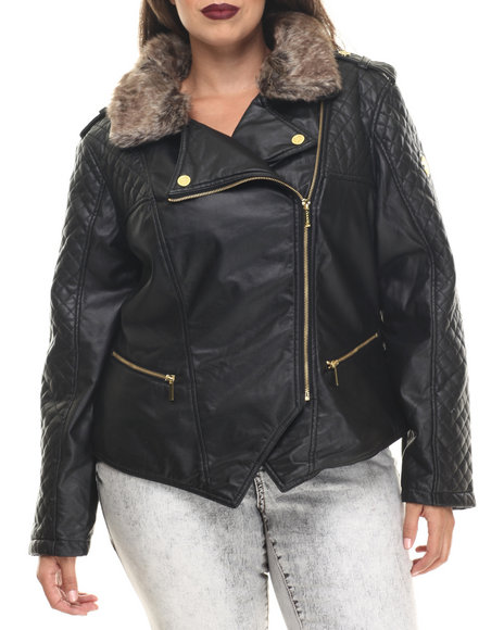 Coogi - Women Black Quilted Faux Leather Moto Jacket W/ Detachable Faux Fur Collar (Plus)