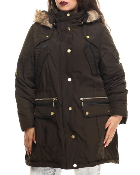 Coogi - Women Brown Long Cinched Waist Faux Fur Hooded Parka (Plus)