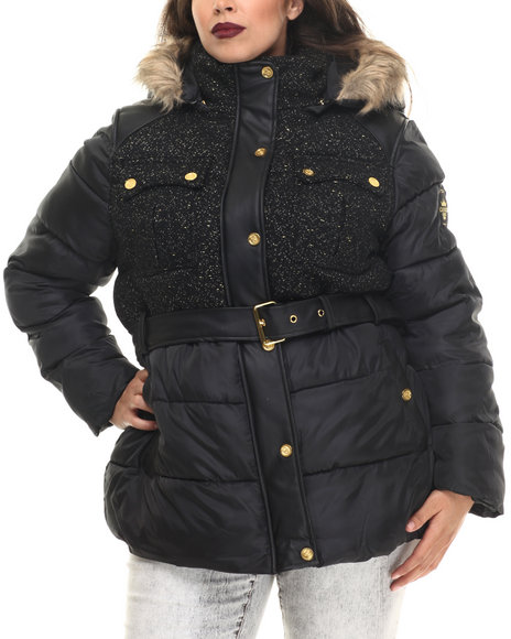 Coogi - Women Black Tweed & Nylon Belted Puffer Jacket W/ Faux Fur Trim (Plus)