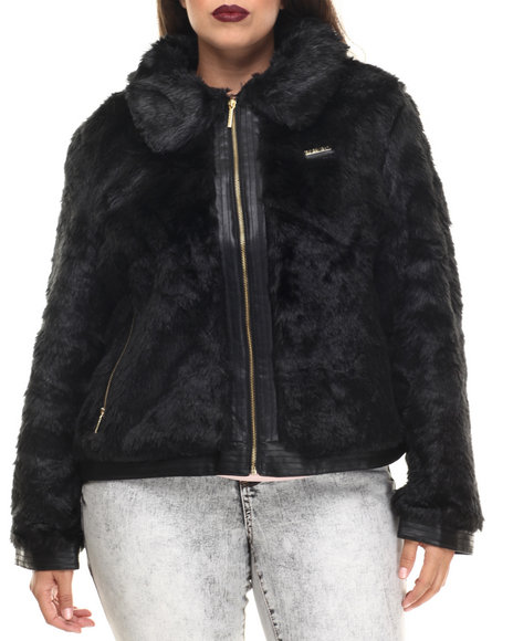 Rocawear - Women Black Faux Fur Jacket (Plus)