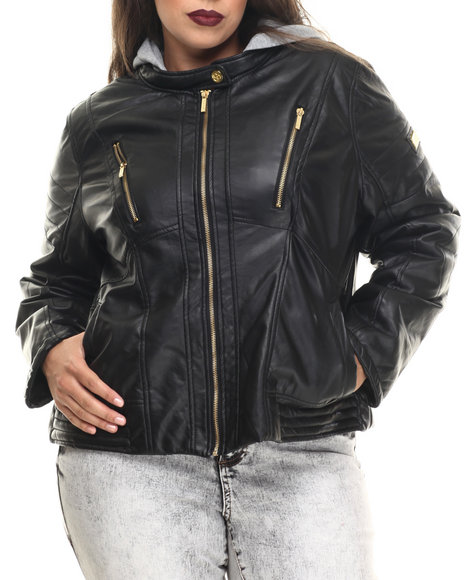 Coogi - Women Black Faux Leather Jacket W/ Detachable Fleece Hood (Plus)