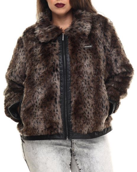 Rocawear - Women Animal Print Leopard Faux Fur Jacket (Plus)