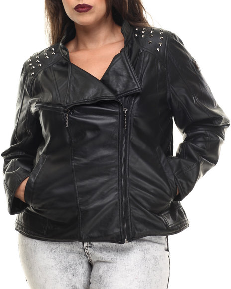 Rocawear - Women Black Vegan Leather Studded Biker Jacket (Plus)