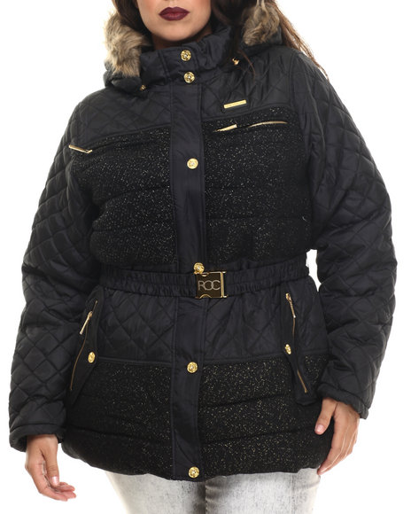 Rocawear - Women Black Tweed Wool Belted Puffer Coat (Plus)