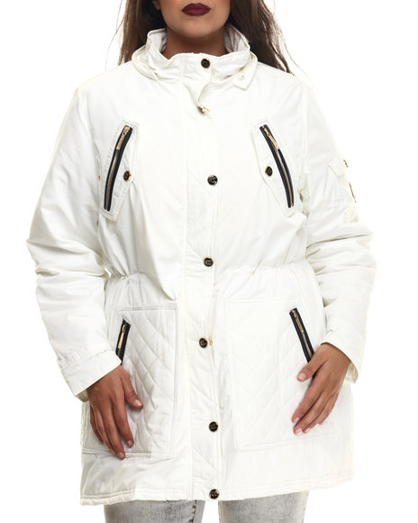 Rocawear - Women Ivory Detachable Faux Fur Hooded Parka (Plus)