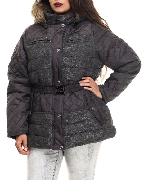 Rocawear - Women Charcoal Tweed Wool Belted Puffer Coat (Plus)