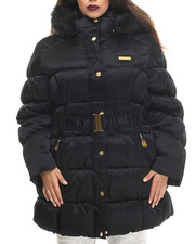 COOGI - Cinched Waist Puffer Jacket w/ Faux Fur Trim (Plus)