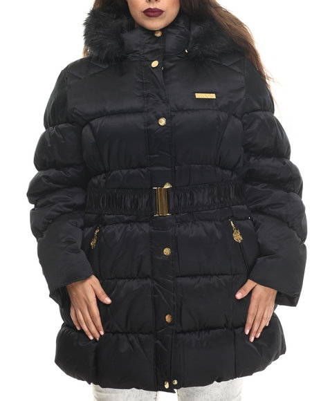 Coogi - Women Black Cinched Waist Puffer Jacket W/ Faux Fur Trim (Plus)