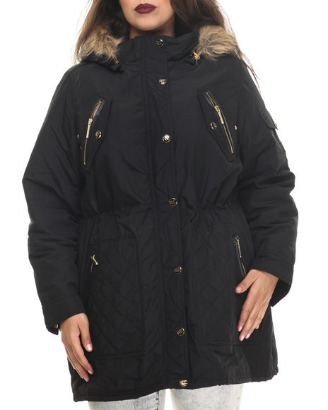 Rocawear - Women Black Detachable Faux Fur Hooded Parka (Plus)