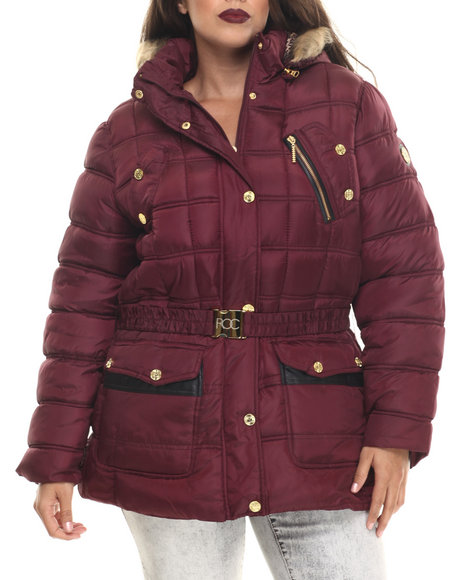 Rocawear - Women Maroon Detachable Hood Belted Puffer Coat (Plus)