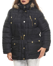Rocawear - Detachable Hood Belted Puffer Coat (Plus)