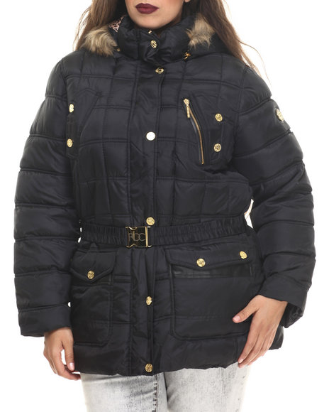 Rocawear - Women Black Detachable Hood Belted Puffer Coat (Plus)