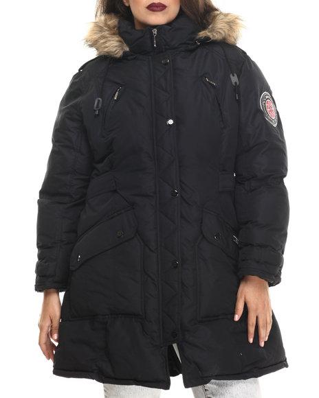 Rocawear - Women Black Hooded Snorkel Puffer Coat (Plus)