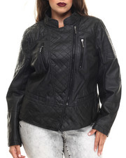 Rocawear - Vegan Leather Quilted Moto Jacket (Plus)