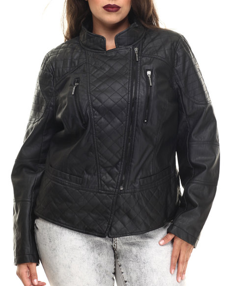 Rocawear - Women Black Vegan Leather Quilted Moto Jacket (Plus)