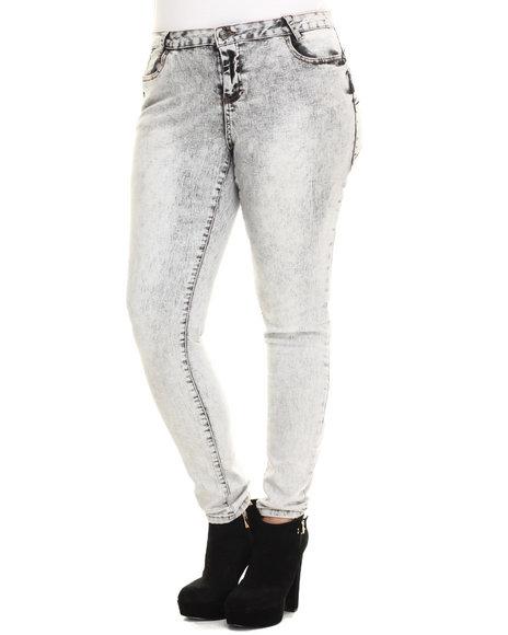 Basic Essentials - Women Light Grey Aged Grey 5 Pocket Push Up Skinny Jean (Plus