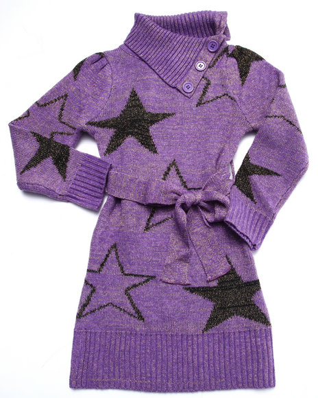 Dollhouse - Girls Purple Star Sweater Dress (4-6X)