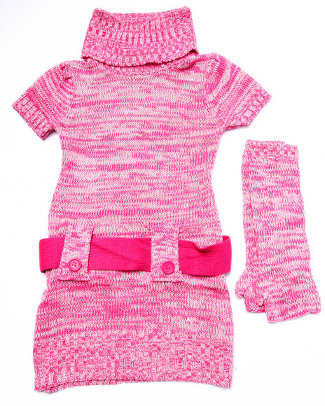Dollhouse - Girls Pink Space Dye Sweater Dress (4-6X)