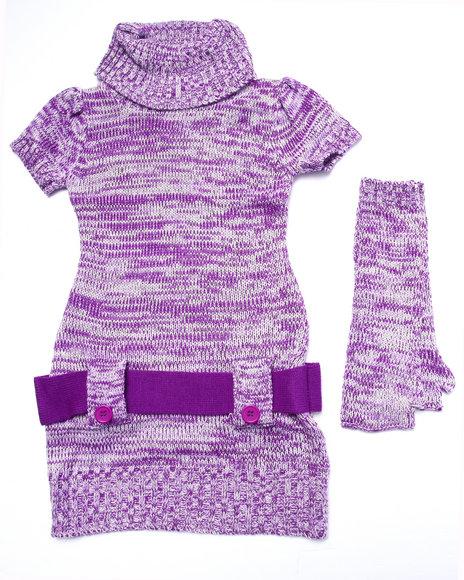Dollhouse - Girls Purple Space Dye Sweater Dress (4-6X)