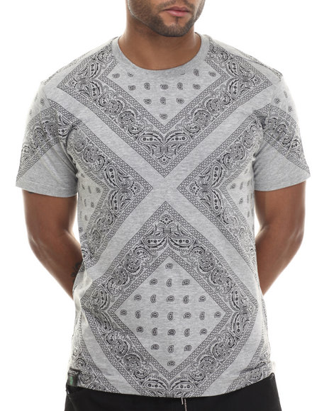 Buyers Picks - Men Grey Bandana Print X Print S/S Tee