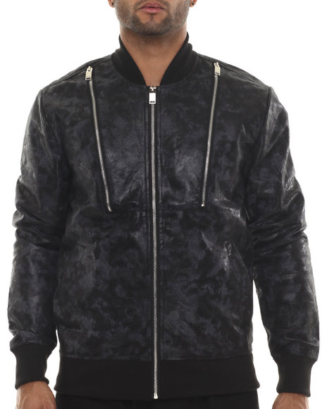 Buyers Picks - Men Black Faux Suede Premium Biker Jacket