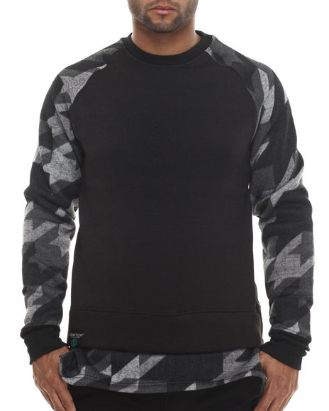 Buyers Picks - Men Black Special Print Crewneck Sweatshirt - $21.99
