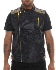 Men - Faux Suede Biker Vest