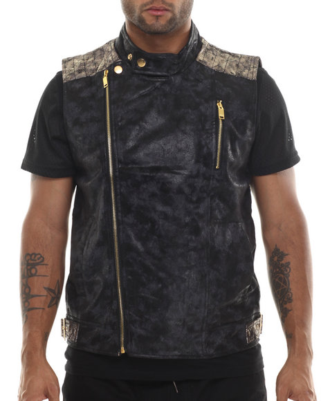 Buyers Picks - Men Black Faux Suede Biker Vest