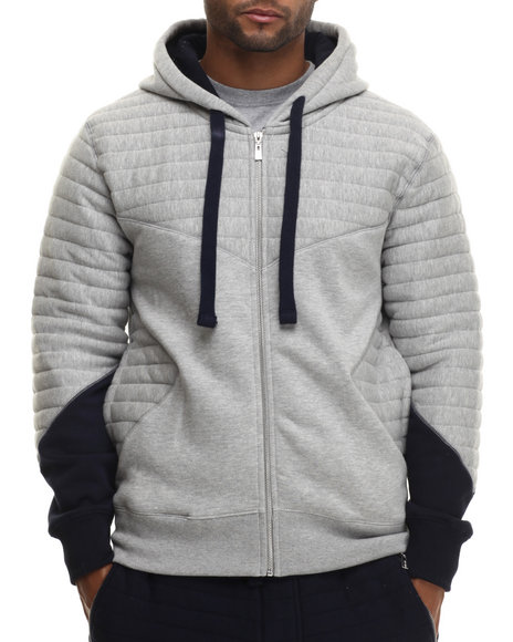 Buyers Picks - Men Grey Futurama Ribbed Zip - Up Hoodie