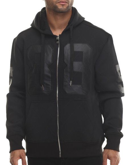 Buyers Picks - Men Black Neoprene Faux Leather Patch Full Zip Hoodie