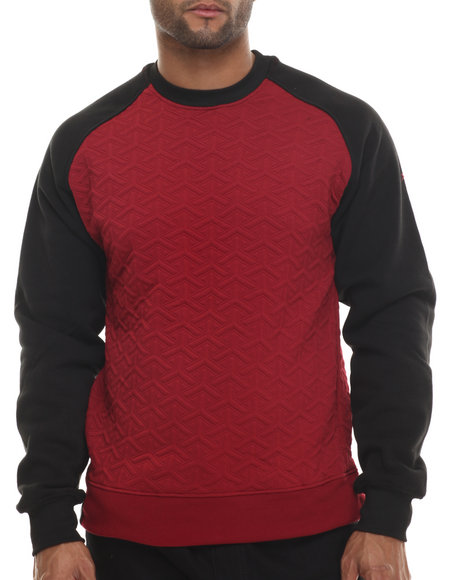 Buyers Picks - Men Maroon Geometric Crewneck Sweatshirt
