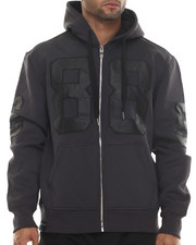 Buyers Picks - Neoprene Faux Leather Patch Full Zip Hoodie