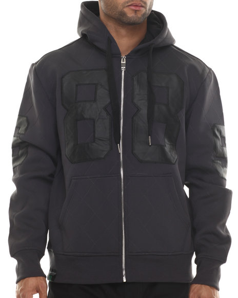 Buyers Picks - Men Grey Neoprene Faux Leather Patch Full Zip Hoodie