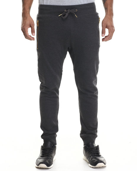 Buyers Picks - Men Charcoal French Terry Jogger Pants W/ Zip Detail - $14.99