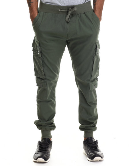 Buyers Picks - Men Olive Twill Jogger Cargo Pants