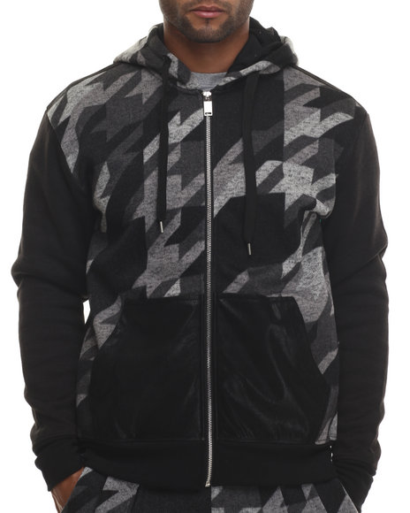 Buyers Picks - Men Black Special Print Full Zip Hoodie - $21.99
