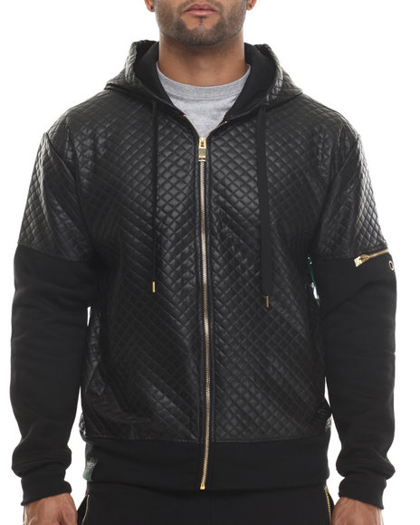 Buyers Picks - Men Black Quilt Embossed Full Zip Hoodie