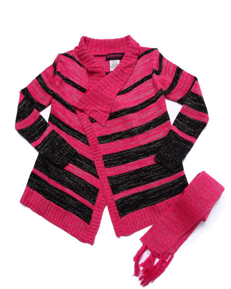 Dollhouse - Girls Pink Lurex Striped Sweater Cardigan (7-16)