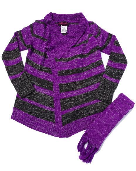 Dollhouse - Girls Purple Lurex Striped Sweater Cardigan (7-16)
