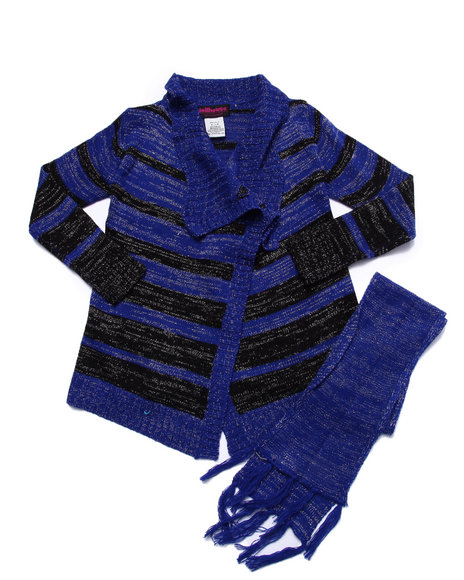Dollhouse - Girls Blue Lurex Striped Sweater Cardigan (7-16)