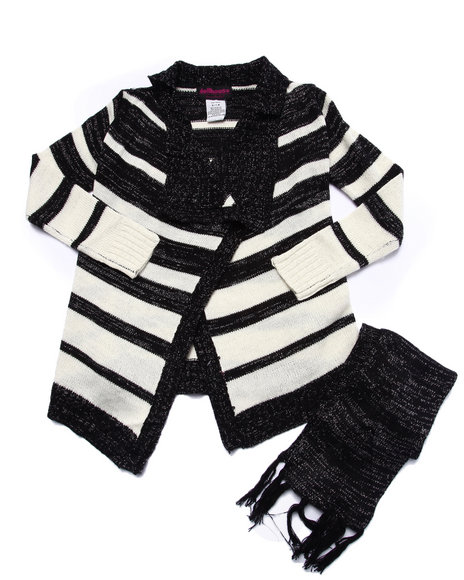 Dollhouse - Girls Black Lurex Striped Sweater Cardigan (7-16)